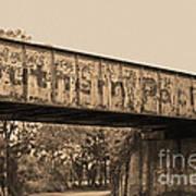 Vintage Railway Bridge In Sepia Art Print
