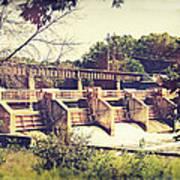 Vintage River Dam Art Print