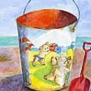 Vintage Sand Pail- 3 Pigs At The Beach Art Print by Sheryl Heatherly Hawkins