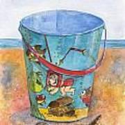 Vintage Sand Pail Sweet Pea Art Print by Sheryl Heatherly Hawkins