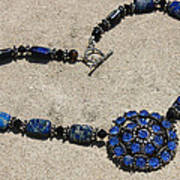 Vintage Sapphire Rhinestone Brooch Pendant Necklace 3635n Art Print