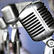 Vintage Standing Radio Microphones Art Print