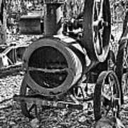 Vintage Steam Tractor Black And White Art Print