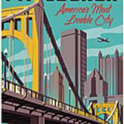 Pittsburgh Poster - Vintage Travel Bridges Art Print