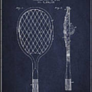 Vintage Tennnis Racket Patent Drawing From 1921 - Navy Blue Art Print