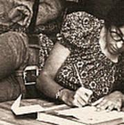 Vintage Young Woman Writing  Art Print