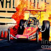 Vintage Top Fuel Dragster Fire Burnout-wild Bill Carter Art Print