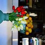 Vintage Vase And Rose Art Print by Bobby Mandal