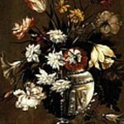 Vintage Vase Of Flowers C1650 Art Print
