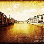 Vintage View Of River Arno Art Print
