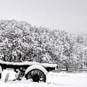 Vintage Wagon In Snow And Fog Filled Valley Art Print