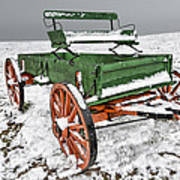 Vintage Wagon In The Snow E98 Art Print