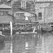 Vintage Waterfront Scene Art Print