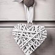 Vintage Wicker Heart Print by Jane Rix