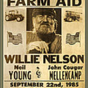 Vintage Willie Nelson 1985 Farm Aid Poster Art Print