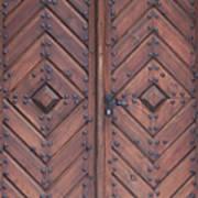 Vintage Wooden Brown Door Close-up Art Print