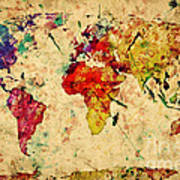 Vintage World Map Art.Vintage World Map Poster By Michal Bednarek