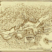 Vintage Yosemite Map 1870 Art Print