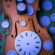 Violin With Watch Faces Art Print by Garry Gay
