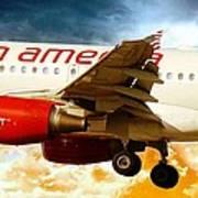 Virgin America A320 Art Print