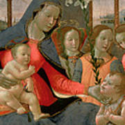 Virgin And Child With St John The Baptist And The Three Archangels Art Print