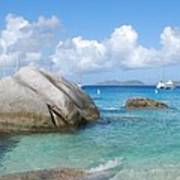 Virgin Islands The Baths With Boats Art Print
