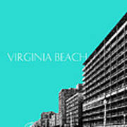 Virginia Beach Skyline Boardwalk  - Aqua Art Print