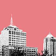 Virginia Beach Skyline - Light Red Art Print