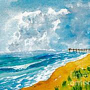 Virginia Beach With Pier Art Print