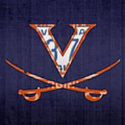 Virginia Cavaliers College Sports Team Retro Vintage Recycled License Plate Art Art Print