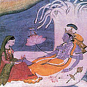 Vishnu And Lakshmi Float Across Cosmos Art Print by Photo Researchers