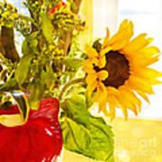 Vivid Cheery Sunflower Bouquet Art Print
