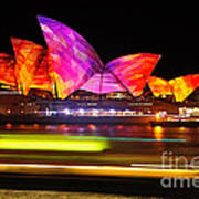 Vivid Sydney By Kaye Menner - Opera House ... Triangles Art Print