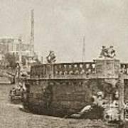 Vizcaya Breakwater Ship Footbridge And Skyline Biscayne Bay Miami Florida Vintage Digital Art Art Print