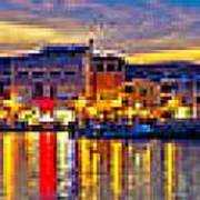 Vodice Waterfront Colorfu Evening Panorama Art Print