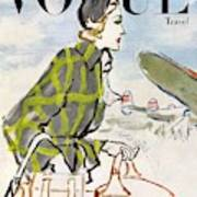 Vogue Cover Featuring A Woman Carrying Luggage Art Print