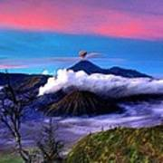 Volcano In The Clouds Art Print