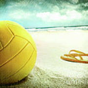 Volleyball In The Sand With Sandals Art Print by Sandra Cunningham