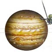 Voyager Spacecraft And Jupiter, Artwork Art Print