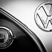 Vw Emblem Black And White Art Print