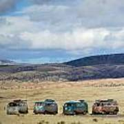 Vws Lined Up Under A New Mexico Sky Art Print