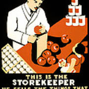 W P A  Food Hygiene Poster C. 1937 Print by Daniel Hagerman