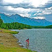 Wading In Johnson Lake In Banff Np-alberta Art Print