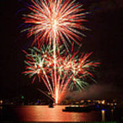 Wading View Of Fireworks Art Print by Mark Miller