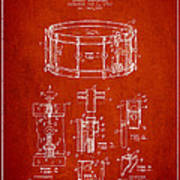 Waechtler Snare Drum Patent Drawing From 1910 - Red Art Print