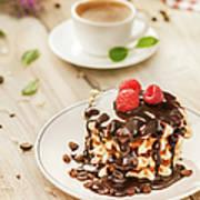 Waffles With Raspberry, Chocolate Sauce Art Print