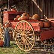 Wagon Full Of Pumpkins Art Print