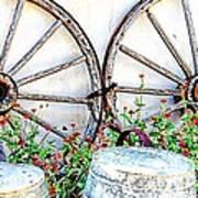 Wagon Wheel Flowers Art Print