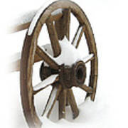 Wagon Wheel In Snow Art Print