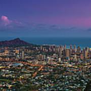Waikiki And Diamond Head At Sunset Art Print